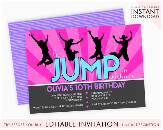 Trampoline Invitation Party