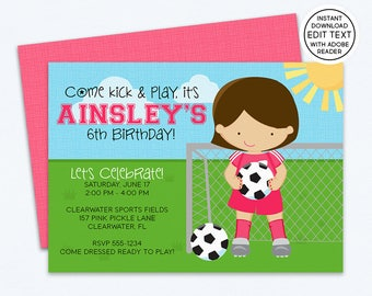 Soccer Invitation / Soccer Party / Soccer Birthday Invitation for Girls / Soccer Party Invitation / Instant Download - Edit with Adobe | 157
