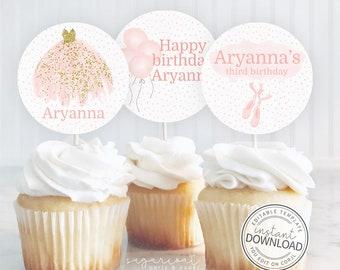 Editable Ballerina Cupcake Toppers, Ballerina Birthday Party, Ballet Cupcake Topper, Printable Cupcake Topper, Instant Download Editable 674
