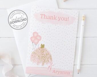 Editable Ballerina Thank You Card, Ballerina Thank You Note Card, Pink and Gold Ballerina Party, Ballet Thank You Note, Instant Download 674