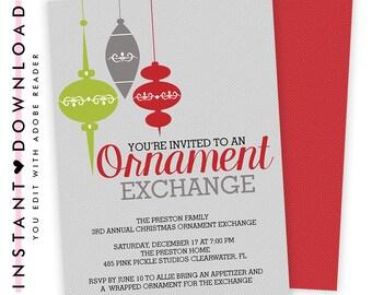 Ornament Exchange Invitation, Ornament Invite, Ornament Swap Invitation, Christmas Invitation, Christmas Invite, Holiday Party Invite 485