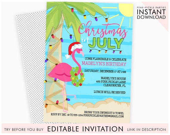 Christmas In July Swimsuit.Christmas In July Invitation Christmas Flamingo Invitation Christmas In July Summer Christmas Instant Download 493