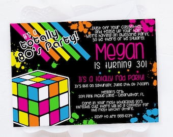 80s Themed Invitations, 80s Birthday Party Invitation Template / Instant Download / Edit Invitation Online with Corjl | 339