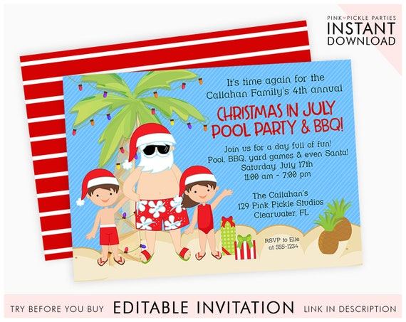 Christmas In July Party Clipart.Christmas In July Invitation Christmas In July Summer Christmas Summer Santa Santa In July Xmas July July Christmas 129