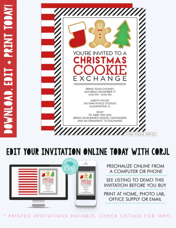Christmas Cookie Party Invite.Christmas Cookie Exchange Invitations Christmas Cookie Invite Cookie Swap Invitation Christmas Party Cookie Party Cookie Exchange 310