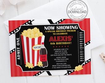 Movie Invitation,  Movie Party,  Movie Birthday,  Birthday Invitation,  Movie Invite,  Movie Ticket,  Ticket Invitation,  Movie Night | 505