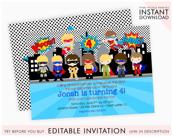 Superhero Invitation Party Pool