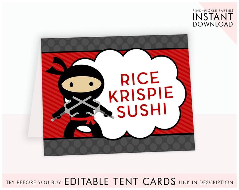 picture about Ninja Printable called Ninja Get together Food stuff Labels, Ninja Birthday, Ninja Printable Editable Foods Playing cards, Editable Food stuff Tents, Printable Foods Label, Buffet Label 408
