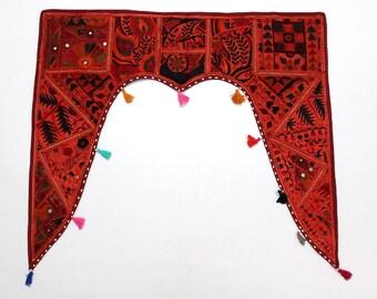Red Window Treatments Valance Topper Vintage Eclectic Kundan Patchwork Ethnic Living Room Door Hanging ~ 60 x 20-16436