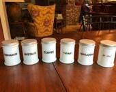Milk glass spice jars, set of 12, 1950s