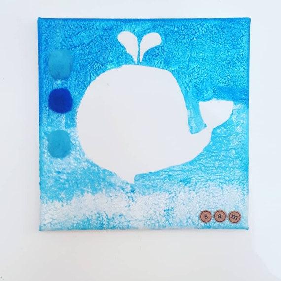 Mer toile Art - baleine - océan - créatures - magique - sirène - chambre d'enfant - personnalisé - toile - coloré - sur mesure