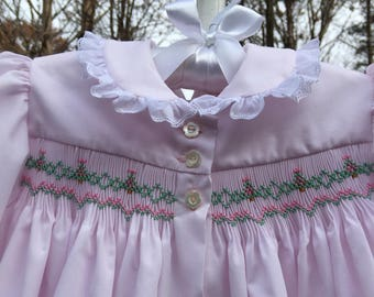 Tiny Christmas Trees/Hand Smocked Front-Buttoned Dress
