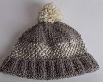 Baby Alpaca & Merino wool fair isle knit hat, Adult