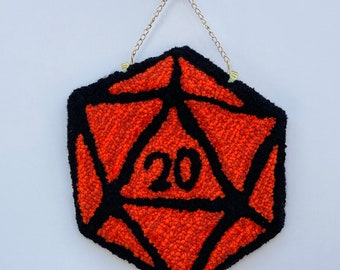 D20 Dungeons and Dragons Orange dice tufted wall hanging