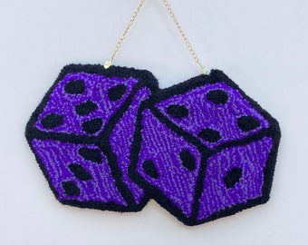 Fuzzy Dice purple tufted wall hanging