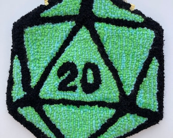 D20 Dungeons and Dragons Green dice tufted wall hanging