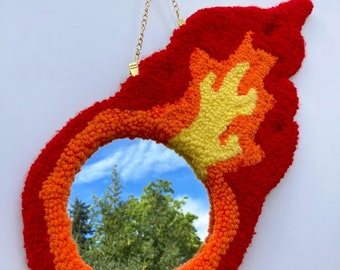 Comet flame tufted mirror wall hanging