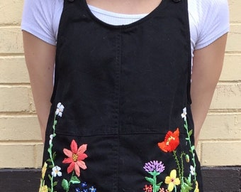 Flower Garden Embroidery Overall Dress black, Upcycle