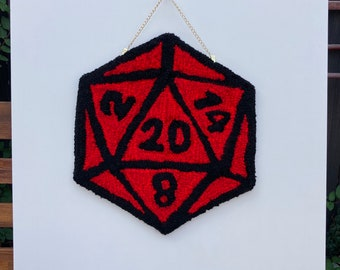 D20 Dungeons and Dragons Large Red dice tufted wall hanging