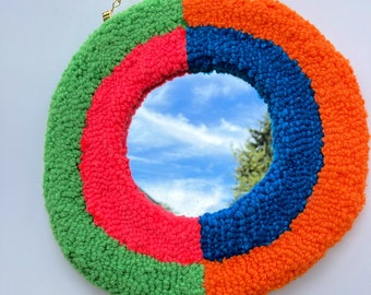 Color block tufted mirror wall hanging