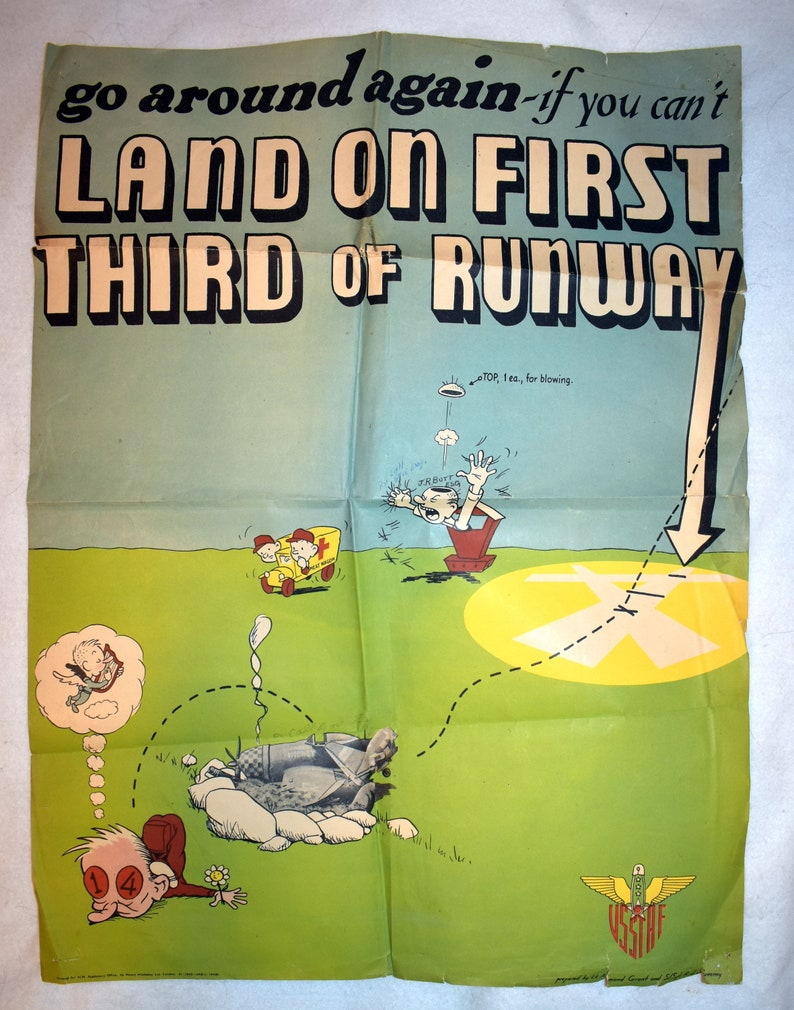 Original Authentic usstaf uk WWII World War II Poster Go Around Again Land  First Third Runway United States Army Strategic Air Forces USAAF