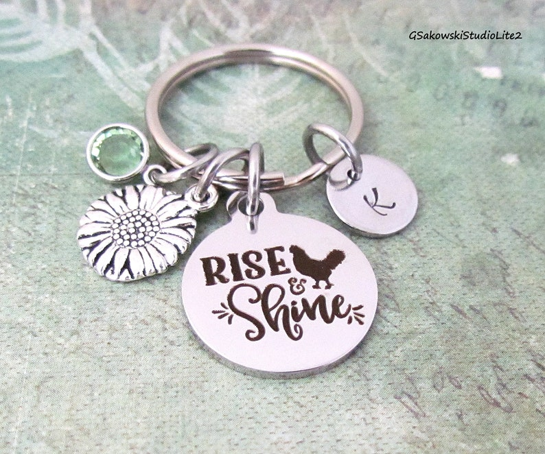 Rise and Shine Sunflower Charm Key Ring Personalized Antique Silver Initial Sunshine Gift Keyring Key Chain