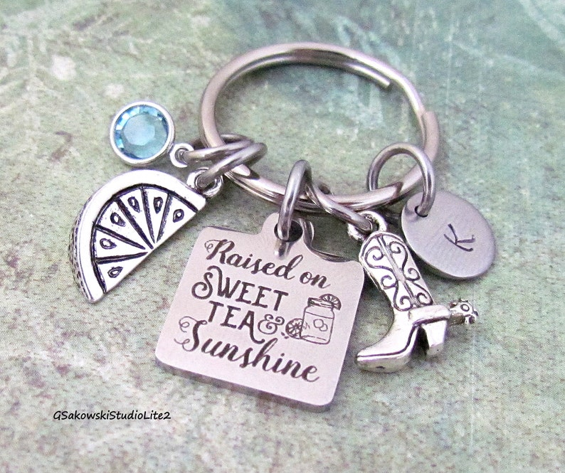 Personalized Initial Southern Girl Gift Keyring Key Chain Raised on Sweet Tea And Sunshine Cowboy Boot Lemon Charm Key Ring