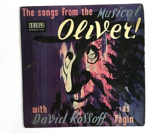 Oliver Twist music, Songs From The Musical Oliver, vinyl record 7 inch ep with David Kossof as Fagin