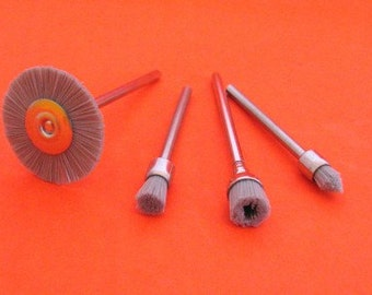 4pc Mini rotary diamond grit filament polishing brushes Dremel brushes 2.35mm shanks