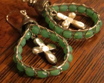 Wire wrapped, beaded cross earring