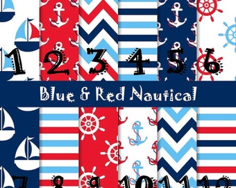 HTV, Adhesive Vinyl, Blue and Red Nautical, Anchors, Stripes, Chevron, Outdoor 651 Vinyl, HTV, Heat Transfer, Iron On, Summer, Vacation