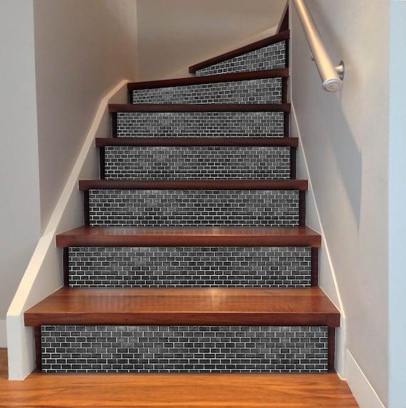 Black Brick Wall Tile Waterproof Vinyl Tile Pack Of 24 Tile Etsy