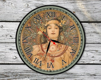 Wall Clock Style Alphonse Mucha, Vinyl Record Clock, Art Wall Clock,  FREE SHIPPING