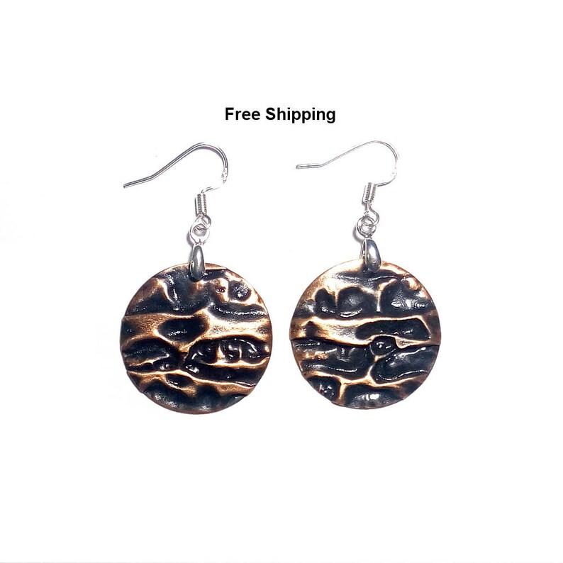 Designer earrings Hammered copper earrings Dangle copper earrings Free shipping handmade copper earrings air chased copper earring