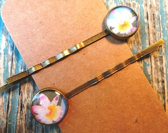 Lotus flower hair clips / grips made using an old postage stamp