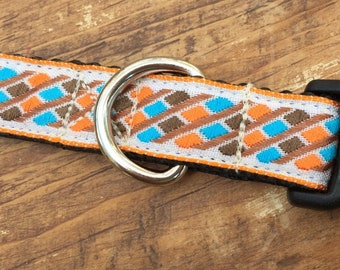 Orange Patterned Small Dog Collar for Male or Female Dog