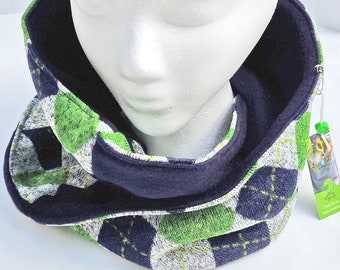 Cowl Scarf, Sweater Fleece, Argyle, green, blue twist scarf, mobius scarf, circle scarf, fleece neck warmer, winter accessory, neck gaiter