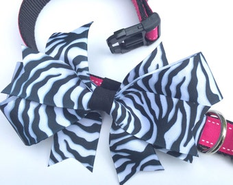 Hot Pink Small Dog Collar with Zebra Stripe Bow