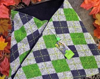 Cowl Scarf, Sweater Fleece, Argyle, green, blue twist scarf, mobius scarf, circle scarf, fleece neck warmer, winter accessory, neck gaiter