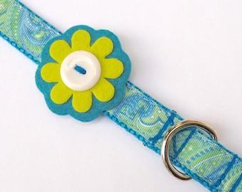 Pretty Paisley Blue & Green Dog Collar with Felt Flower