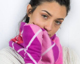 Pink Argyle Cowl Neck Scarf with matching Wrist Warmers