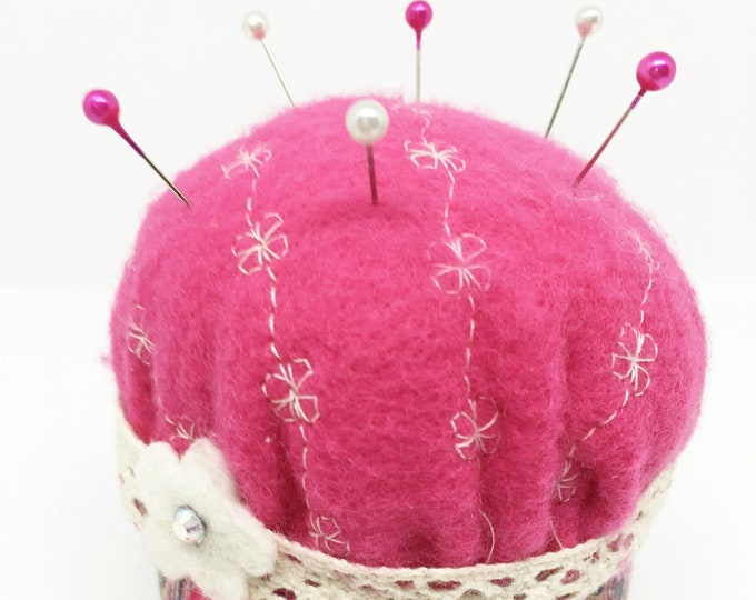 Featured listing image: Boho Pin Cushion with compact sewing kit