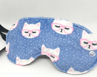 Kitty Specs Sleep Mask, Soft Minky and Flannel