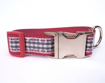 Pink & Blue Large Dog Gingham Collar with Metal Hardware