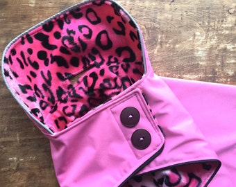 Pink Dog Raincoat with Fun Leopard Faux Fur lining