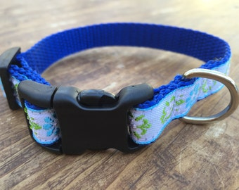Pretty Blue and Green Jacquard XS Dog Collar