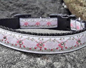 Floral Rhinestone Dog Collar, Flower Dog Collar, Small, medium collar, Princess Dog Collar, Pink Dog Collar, dog collar for girl, female dog
