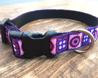 Brilliant Blue & Red Patterned Small Dog Collar