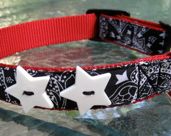 Black Bandana dog collar with star buttons