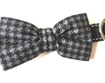 Houndstooth Bow Tie Dog Collar
